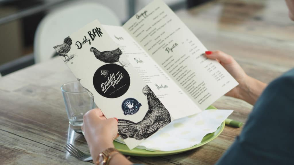 Carte Menu Restaurant antimicrobiens